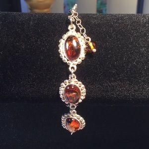 Jewelry - .925 Sterling & amber bracelet